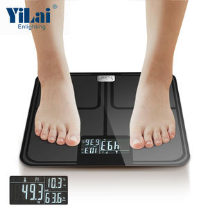 new design 180kg ITO glass 320MM dimension smart bathroom scale with APP can show body fat body water  bone mass muscle mass