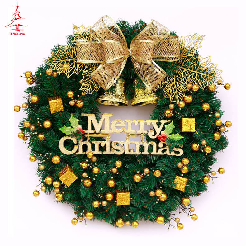 artificial wreaths China factory supply decorated silver gold christmas wreath with jingle bell Brand new