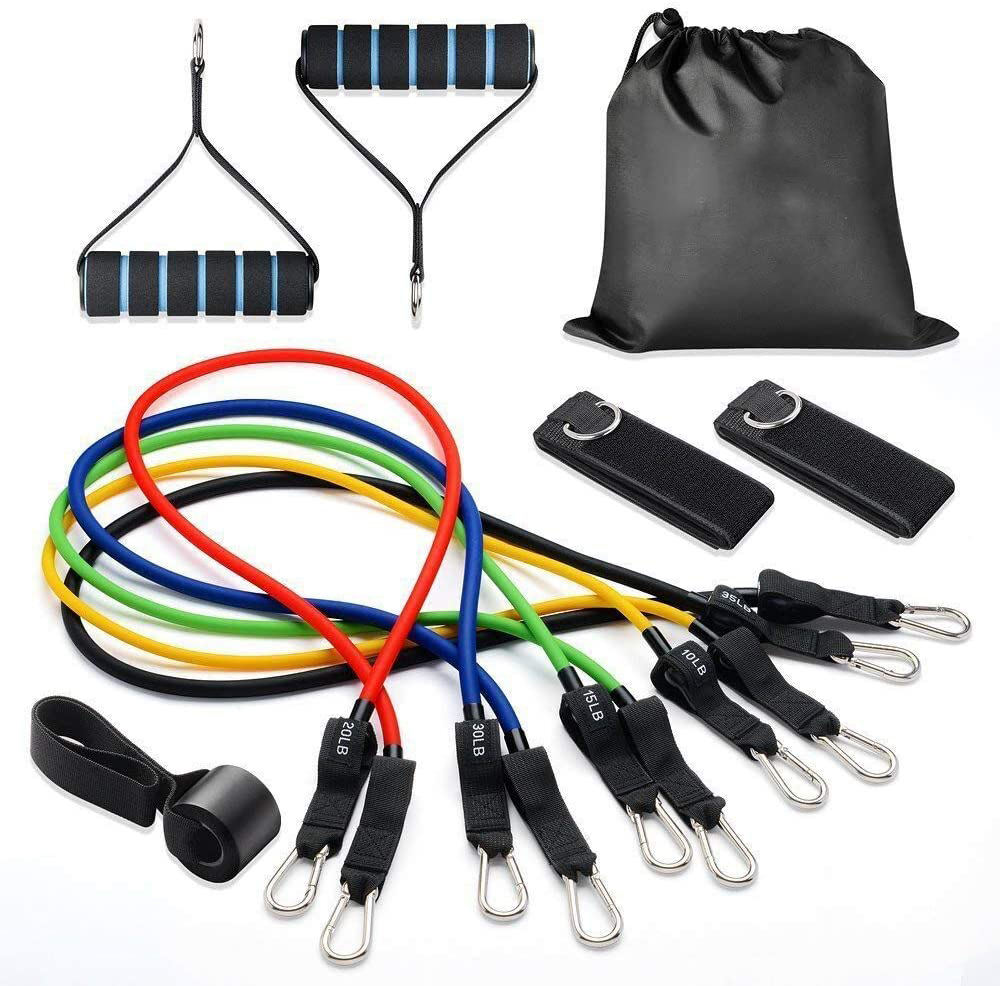 Best Selling Resistance Bands Set with Door Anchor, Ankle Straps, Carrying Case & Guide Ebook