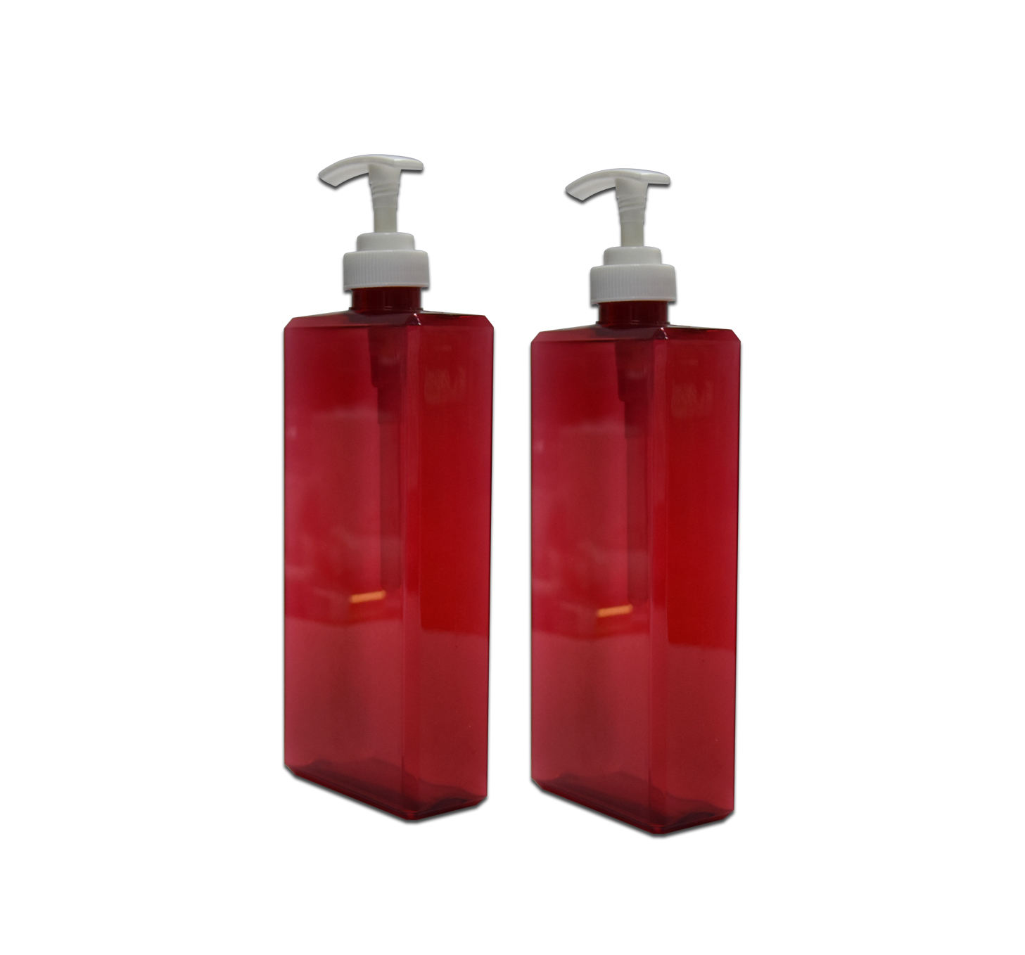15oz hotel empty shampoo 450ml PETG red cosmetic bottle square plastic conditioner bottle