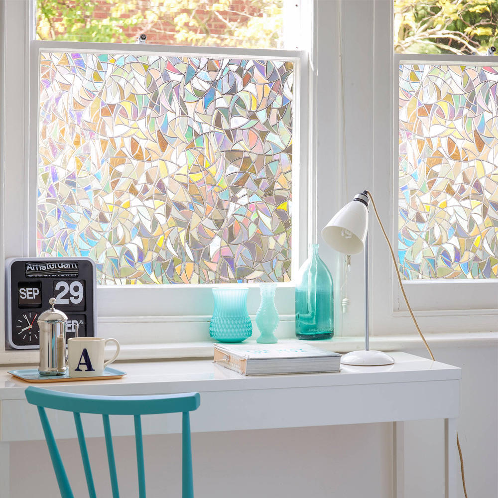 3D No Glue Window Privacy Film Static Window Clings Decorative Film Rainbow Light Effect Prism Window Stickers