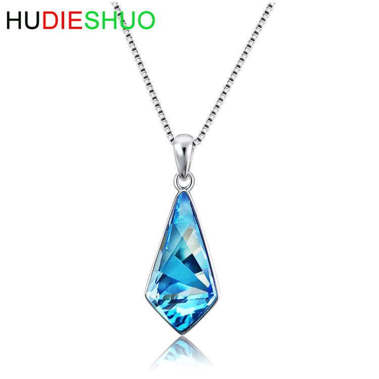 Hot selling personalized custom crystal pendant S925 sterling silver necklace for ladies