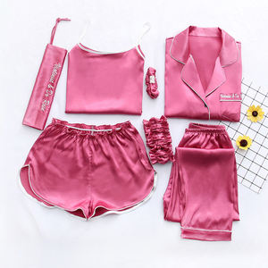 HSZ Y-QJT girl silk sleepwear 7 piece sets pajamas short women cozy Satin nightwear ladies vest satin floral robe bridesmaid