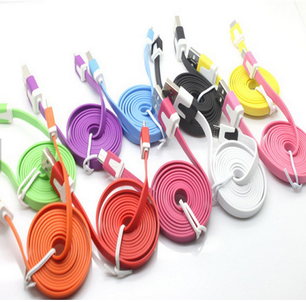 2019 hot selling new style double color customized flat noodle Micro USB cable mobile phone data cable USB charging data cable