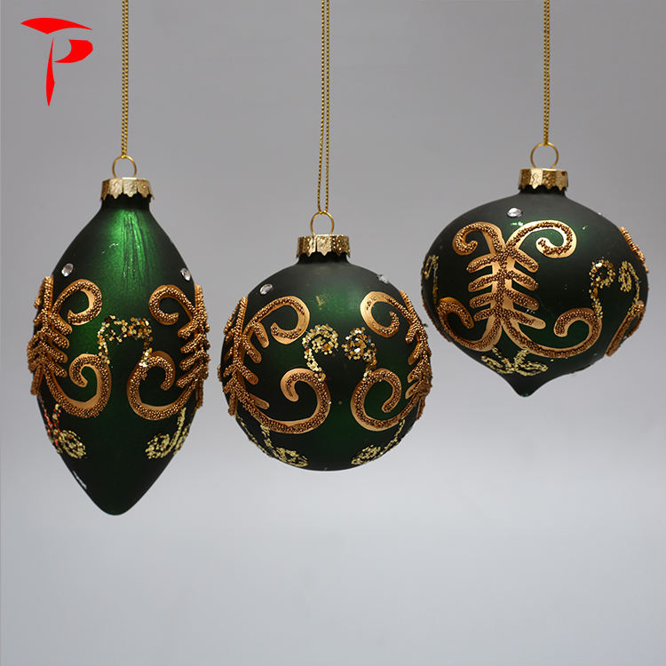 Wholesale Cone Velvet Green Christmas Decoration Ball with Sequins Ornaments Bulk Vintage