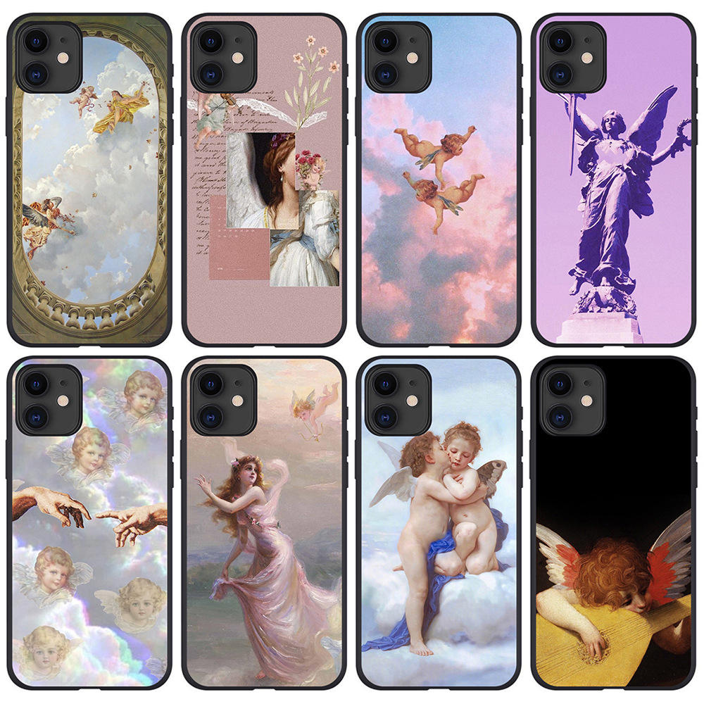 Ready to ship good quality lovey Angel baby art TPU phone case for phone 12