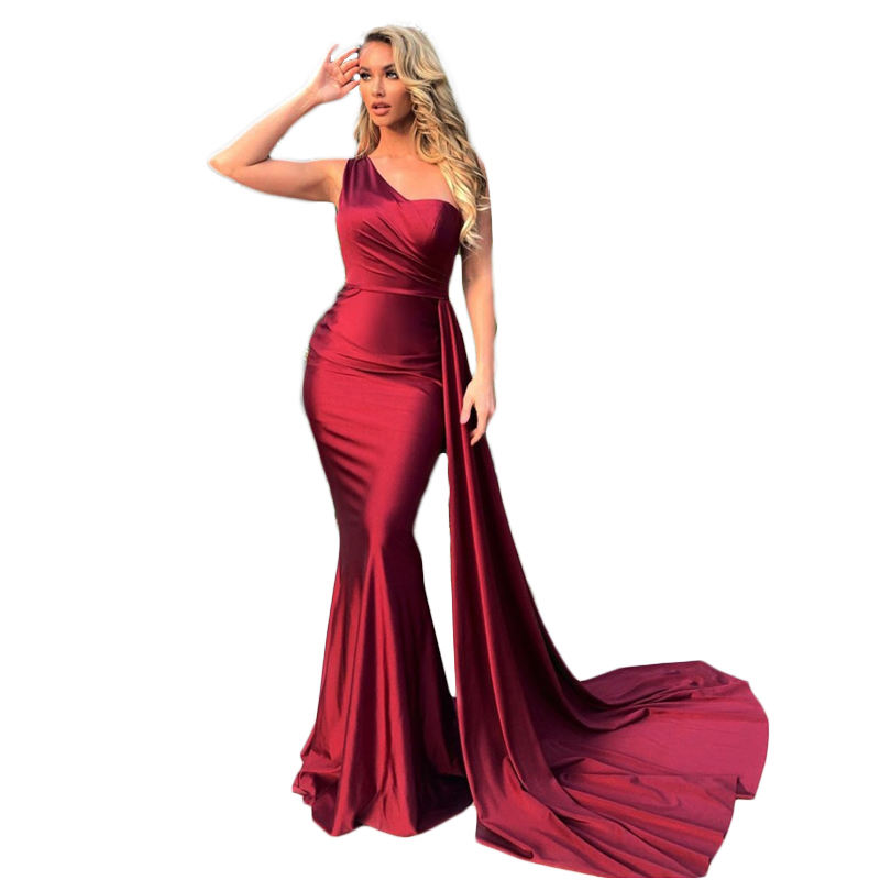 One Shoulder Maxi Dress Sleeveless Stretchy Satin Mermaid Floor Length Wedding Bridesmaid Evening Party Dress With Ribbon