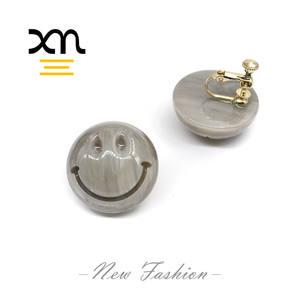 fashion unique design smile face women girls earrings jewelry cute acetate clip on earrings designer handmade earrings custom