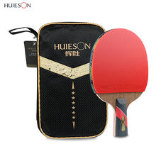HUIESON Custom Print With Logo Professional 6 Stars Paddle Carbon Ping Pong Bat Set Table Tennis Racket