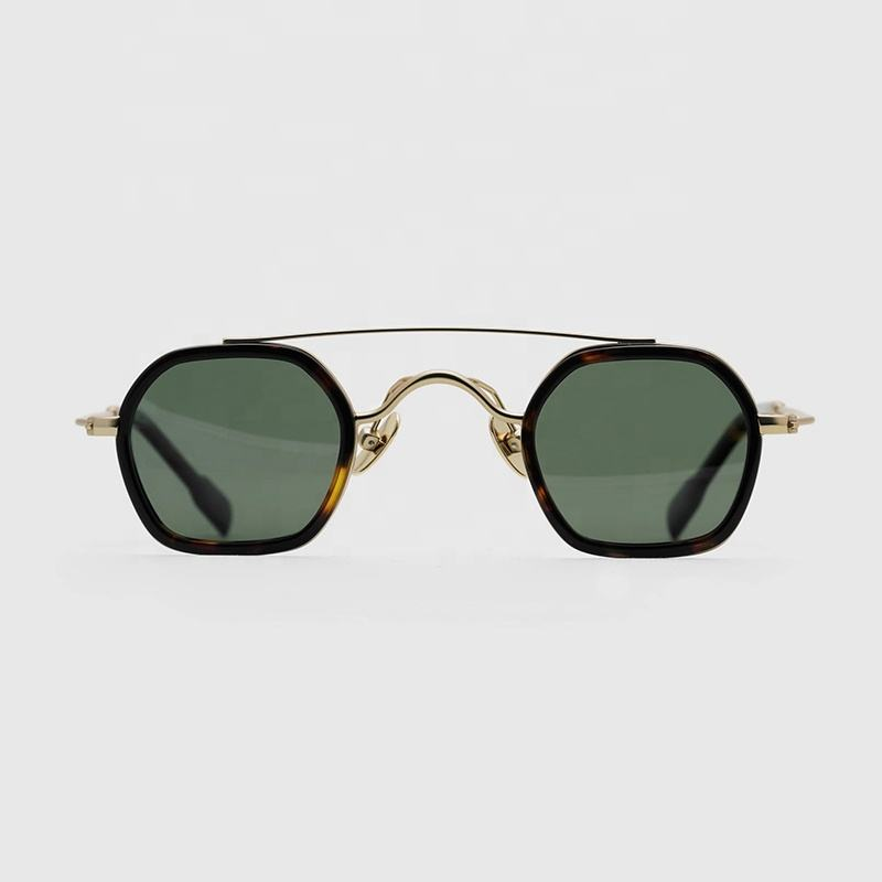 Green color lens old fashion metal acetate women men unisex gold round sunglasses with CE UV400