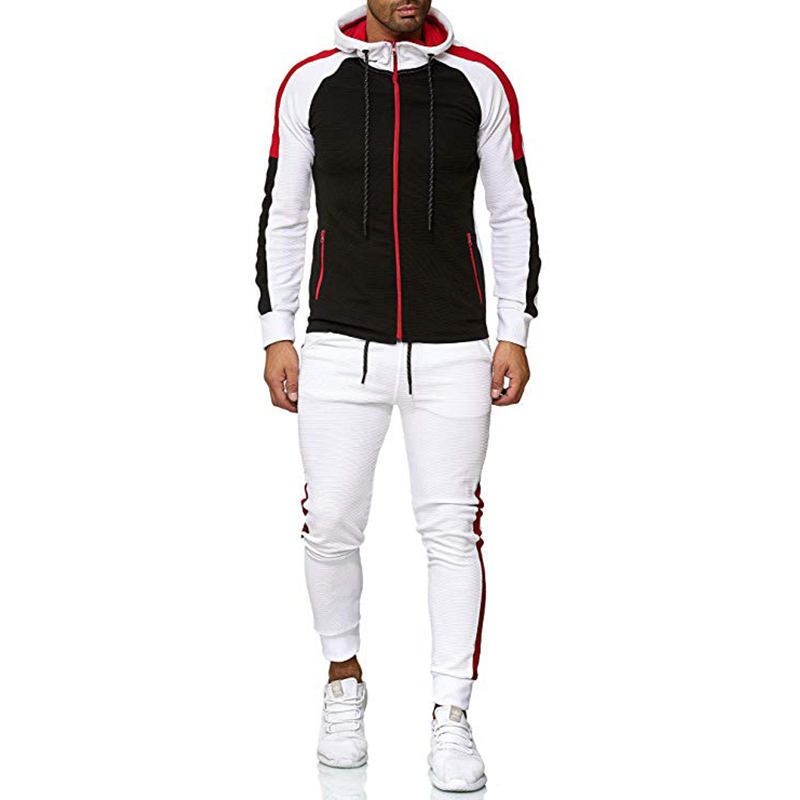 Wholesale New Design Mens Jogging Suits Hooded Tracksuits Stylish Striped PatchworkFitness Gym Workout Running Tracksuits