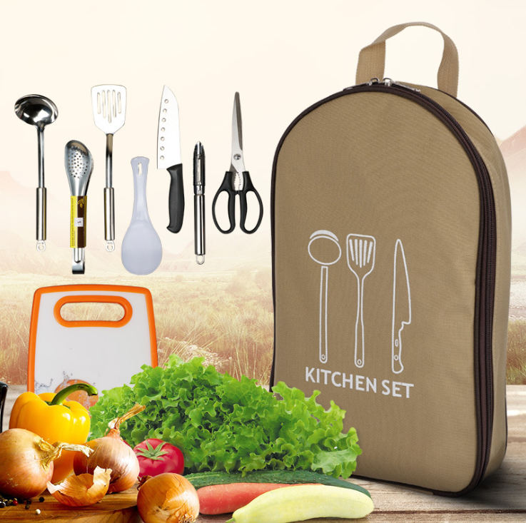 BBQ Tools 7-Pieces in One Set Handbag Outdoor Cookware Set picnic camping kitchenware portable stainless steel picnic Oxford bag