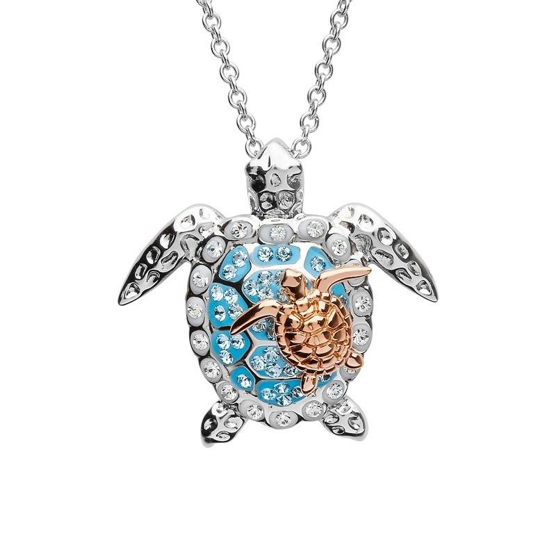 Ocean Jewelry Pretty And Cute Sea Turtle Mother & Baby Pendant Necklace