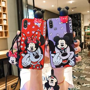 For iPhone X Xs 6 7 8 Plus 11 Pro Max Minnie Mickey 3D Papa Doll Holder Stand Strap Cute Soft Phone Case
