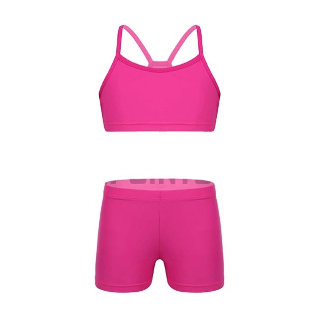 Girls Solid 2-Piece Gymnastics Dance Sports Outfit Racer Crop Top with Booty Shorts Swimsuit