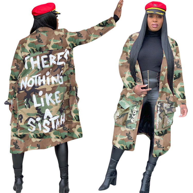 M10923 Women winter clothing plus size camouflage jackets casual loose long coats turn down collar design ladies outwear