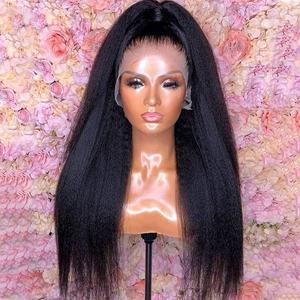 Wholesale 13X4 HD Lace Frontal Wigs Long Hair Brazilian Kinky Straight Glueless Cheap Frontal Wigs for Black Women