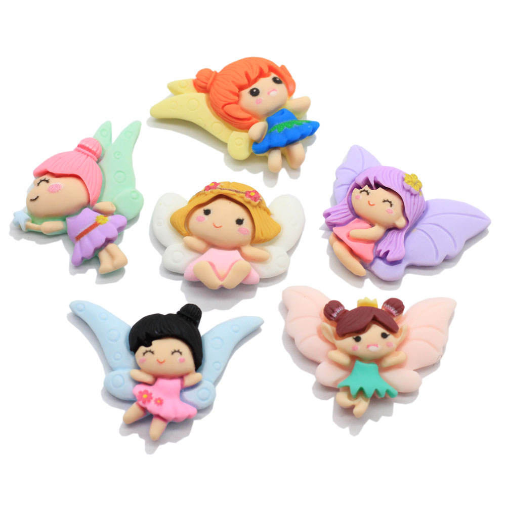 Kawaii Angel Resin Flatback Figurines Pretty Girl Ornament for Baby Jewelry Making Accessory