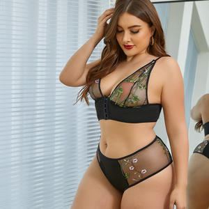 2020 New Style Transparent Sexy Embroidered Lace Plus Size Sexy Lingerie Set High Quality Sexy Lingerie Costume