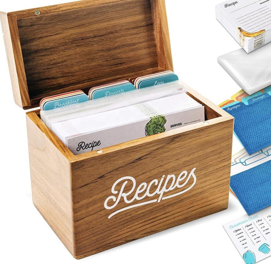Acacia Wood Recipe Box with Cards and Dividers-Cherish and Protect Your Family Recipes Forever.