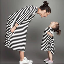 Wholesale Black And White Striped Pocket Half Sleeve Mother And Daughter Casual Dress