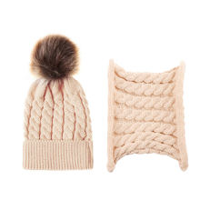Winter Fashion Knitted Beanie Infinity Scarf Set With Fur Pompom Hats