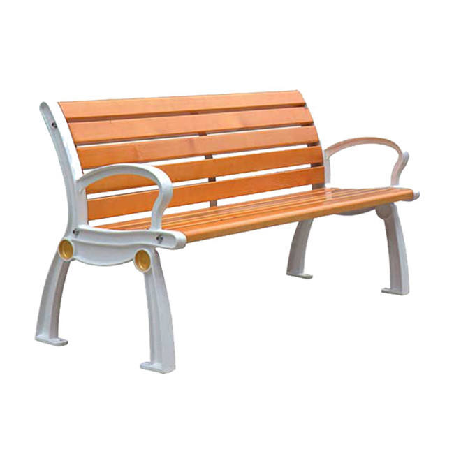 High quality outdoor wood seating park leisure bench cast aluminum legs chair garden Wood plastic composite bench seat