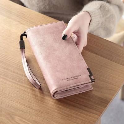 2019 high quality fashion pu leather long ladies wallet purse women elegant mobile bag