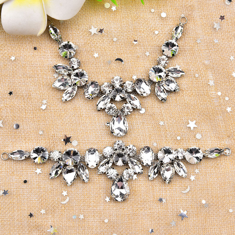 Ladies Sandals White Glass Flower Pattern Diamond Buckle Claw Drill Clothing Decoration Rhinestone Diamond Flower Shoes