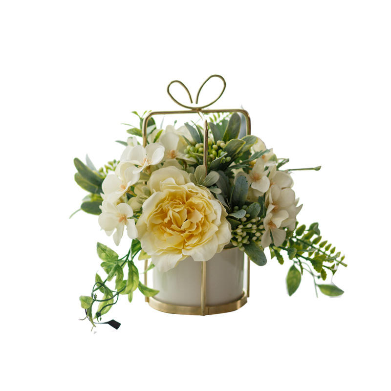 China artificial flower set ceramic golden vase rose artificial plant pot home decoration Flower