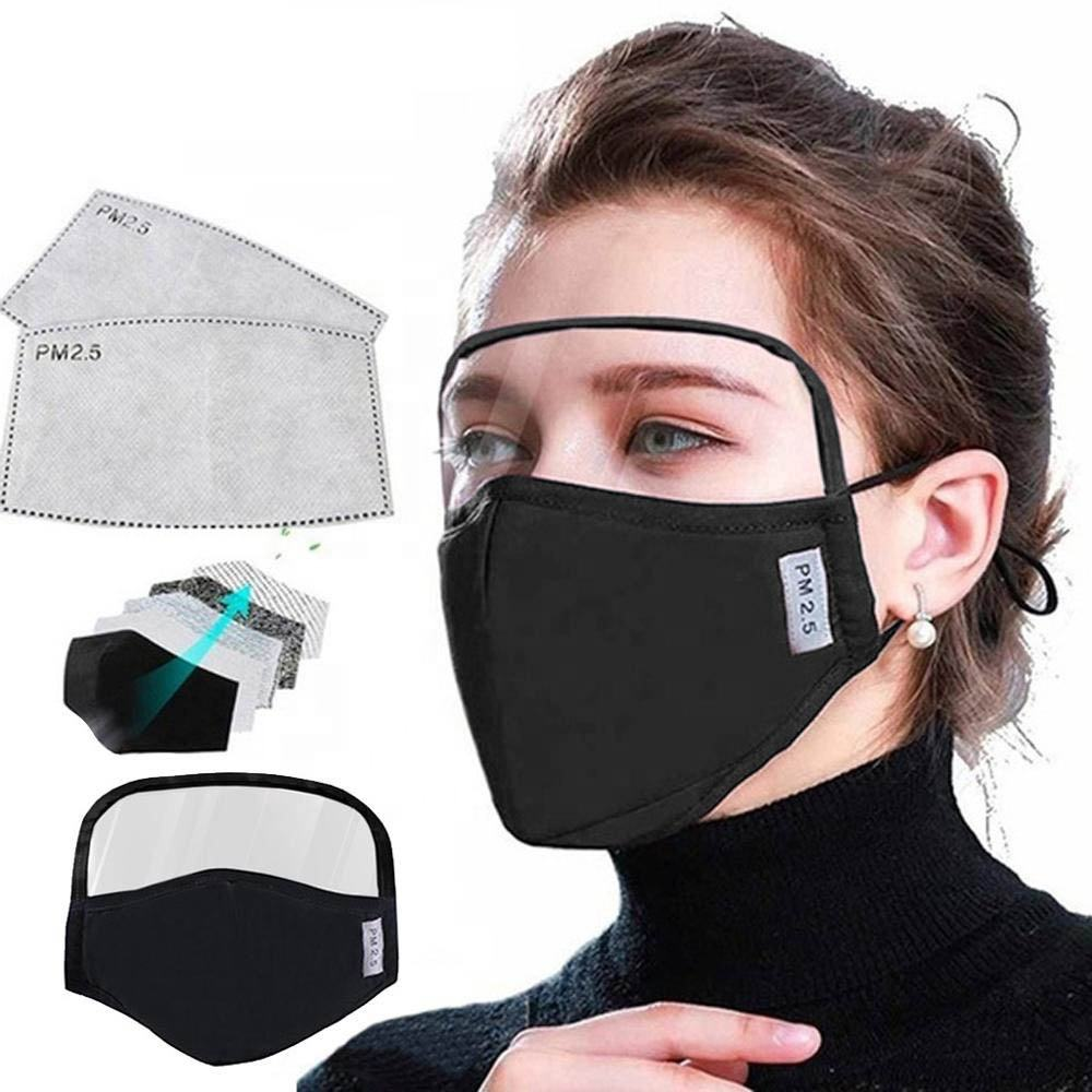 wholesale 5 Layers Cotton Face Maskes with Filter Activated Carbon Maskes with valve Cotton Dust maskes with Eyeshield women men