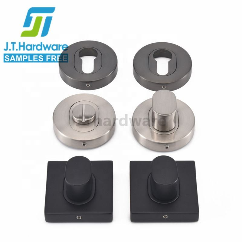 Factory direct sale galaxy Euro cylinder square rose privacy kit door handle turn and escutcheon