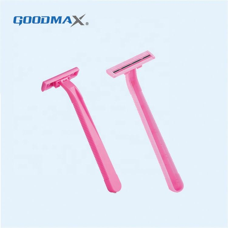 Custom Safety Travel Double Edge Women Disposable Plastic Twin Blade Shaving Razor