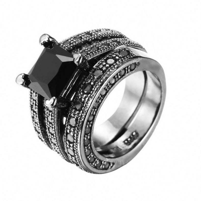 Designer 925 Sterling Silver Exquisite Natural Black Ring Black Onyx Black Stone Silver Ring