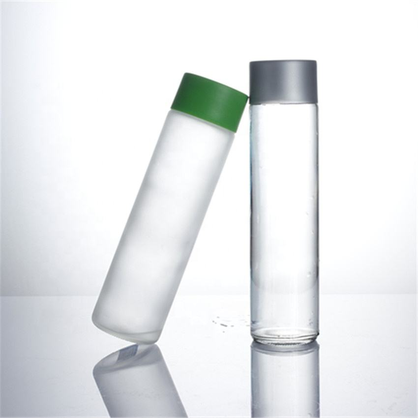 250ml 300ml 350ml 400ml 500ml 750ml transparent screw cap high borosilicate voss water glass bottle for juice milk