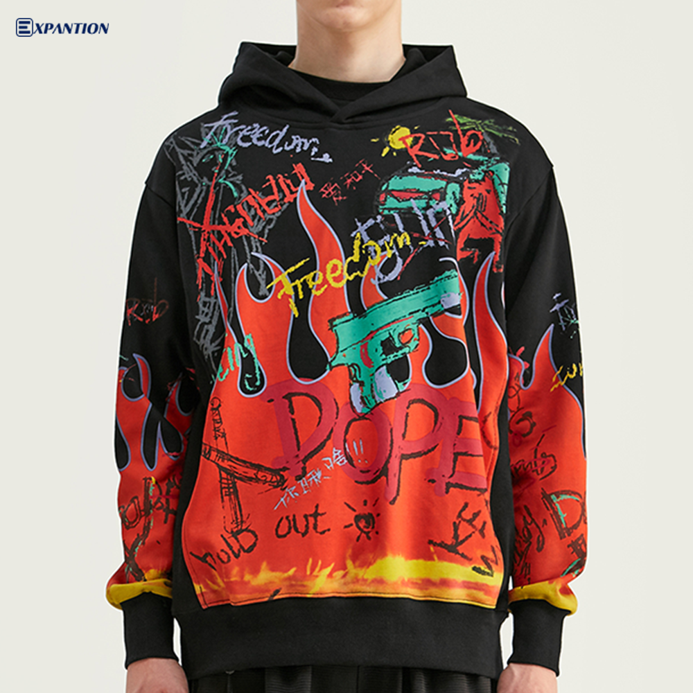 European Autumn Winter New Street Fashion Personality Luxury Graffiti Printed Black Oversized Hoodie