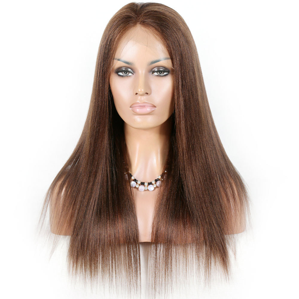 CLEARANCE 50% off brown color brazilian remy hair large cap light yaki straight human hair 10a full lace silk base wigs