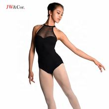 JW Girls adult halter breathable sexy black sleeveless dance ballet leotard
