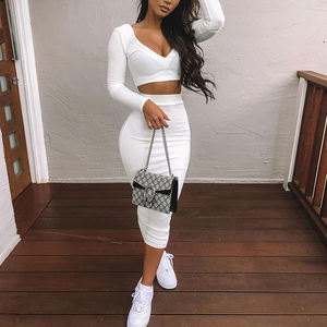 New Arrival Stylish Long Sleeve Autumn Sexy Midi Dress Bodycon Casual Dress Two Piece Set Women Clothing