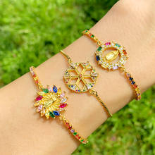 Multicolor Virgin Mary Bracelets For Women Round Crystal Bracelets Pendant Zirconia Gold Plated Christian Jewelry