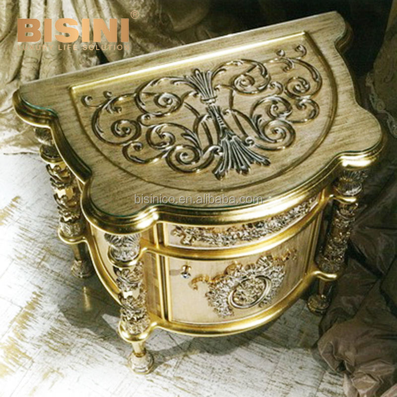 Antique Gold Finished Wooden Night Stand, Floral Exquisite Carved Nightstand
