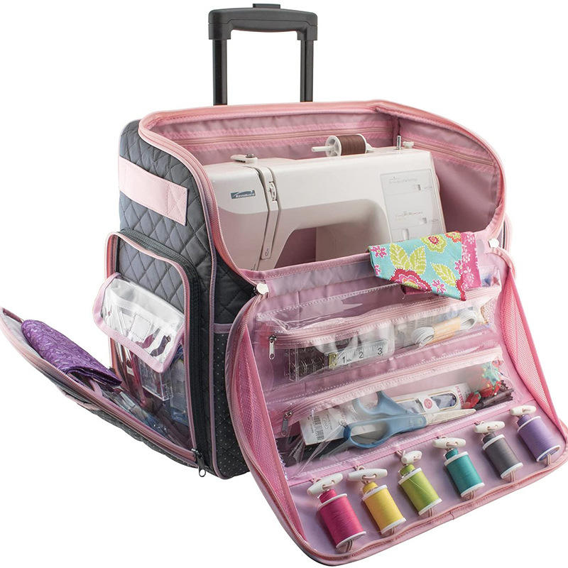 Custom Design Sewing Machine Storage Case Trolley Bag with Wheels