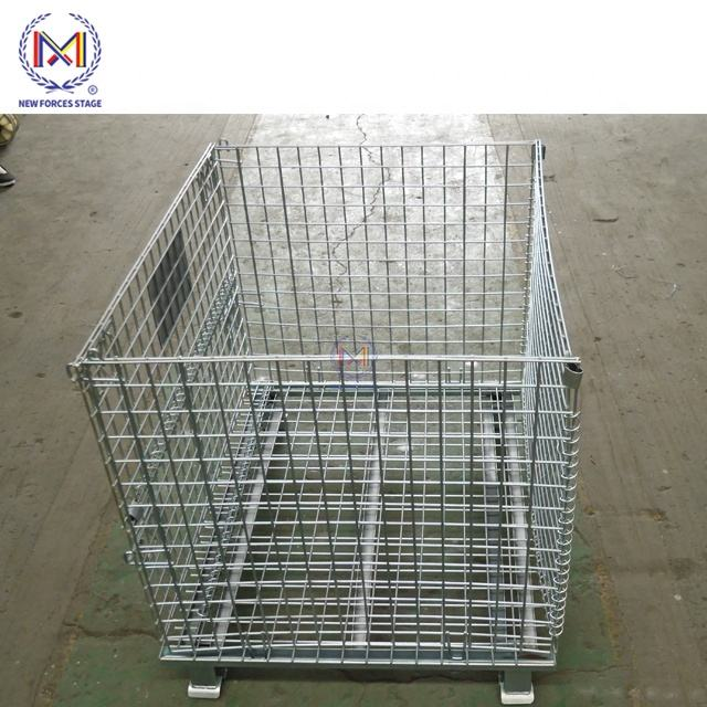 Mesh Box Wire Cage Metal Bin Storage Container Wire Mesh Pallet Crate Foldable Stackable Steel Storage cage pallet Chinese