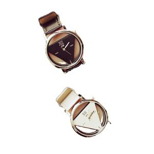 Digital Women's Luxury Fashion Simple Triangle Hollow Couple Transparent Student Watch