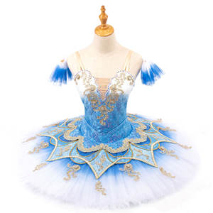 Blue Lace Flower Professional Classical Ballet Tutu Dance Stage Performance Wear Tutus Adult Women