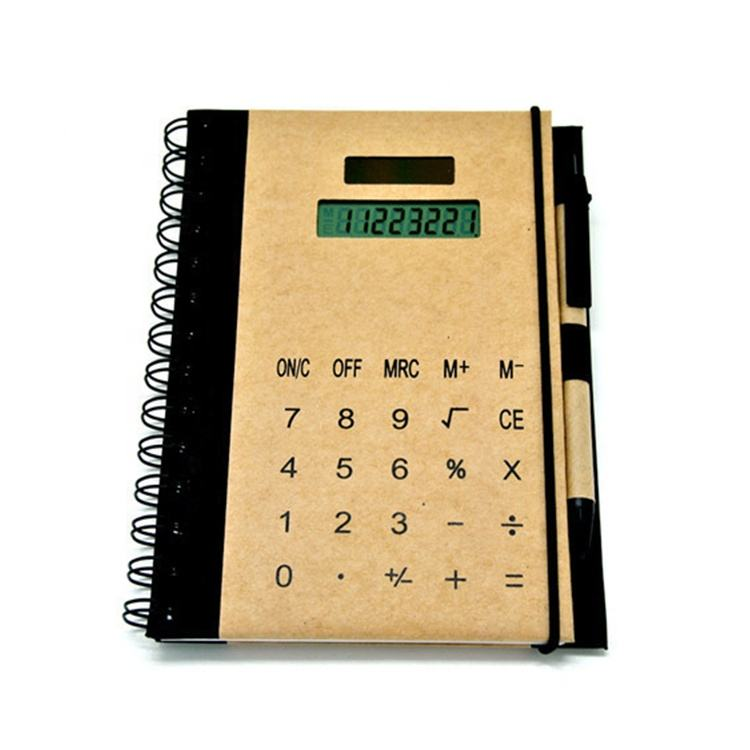 Notebook with calculator and a pen notepad promotional gift custom logo private label new fancy design new technology calculator