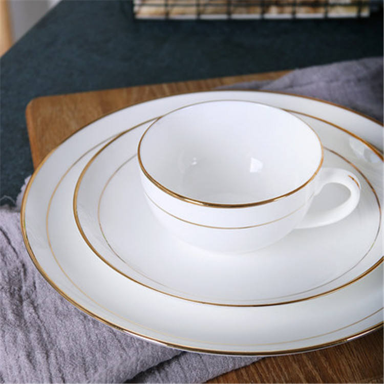 Restaurant drinkware good quality cheap price popular white color gold rimmed dinner plates coffee tea cup set