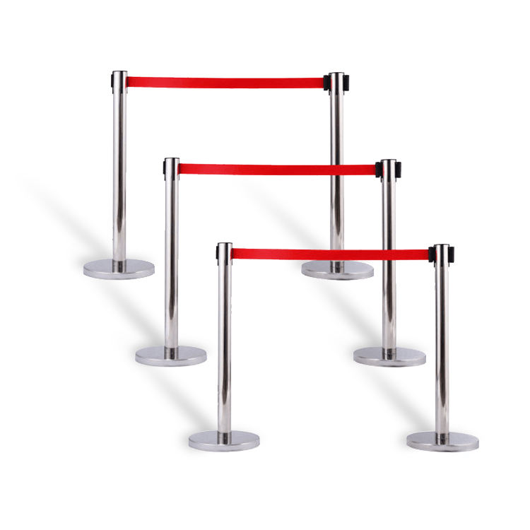 Iron Stainless Steel Belt Barrier Queue Stanchion Pole