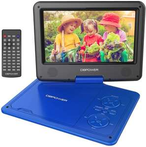 DBPOWER 9.5 '' Portable DVD Player with Rechargeable Battery, Swivel Screen, Supports SD Card and USB, Car Charger