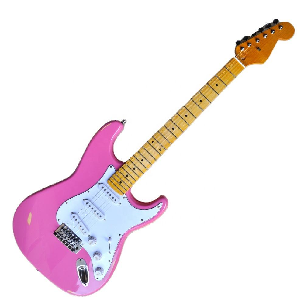 Flyoung Pink Electric Guitar Vintage Style Cheap Price Guitar